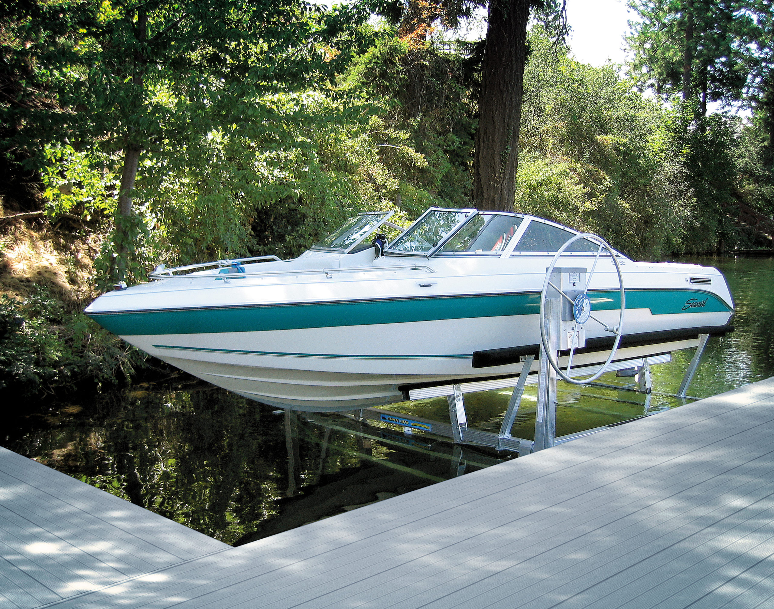 boat on lift over water